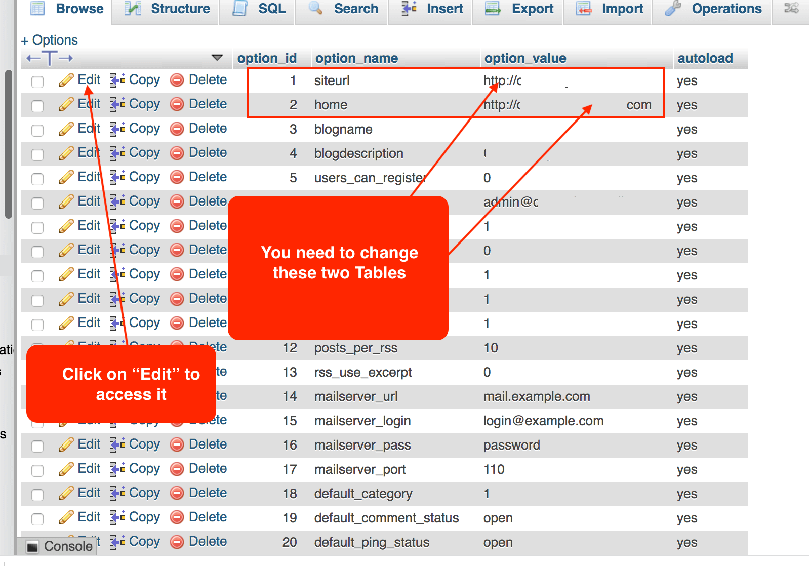 Finding site URL and home address tables in the database