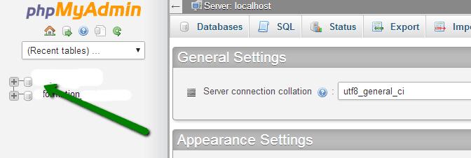 Importing database