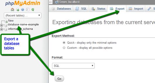 export a database in WordPress