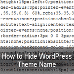 Hide WordPress Theme Name from the Source