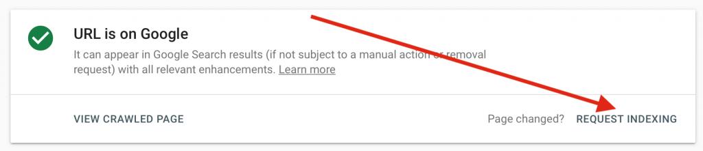 request URL indexing