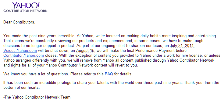 Yahoo Voices and Contributor Network will Shut Down