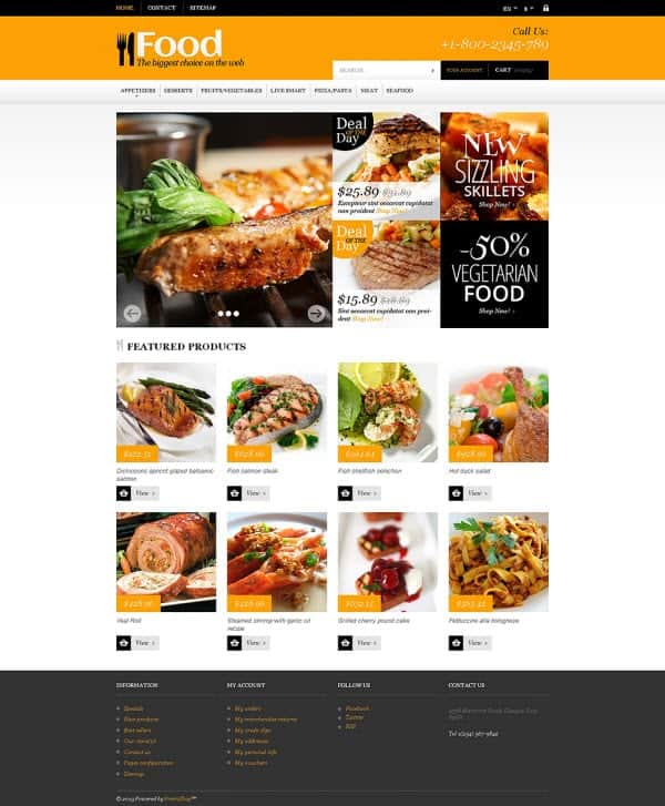 Theme for Online Orders of Meals