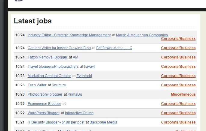 Blogging Job Search