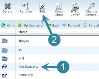 edit the functions file