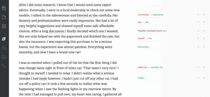 Grammarly proofreading interface