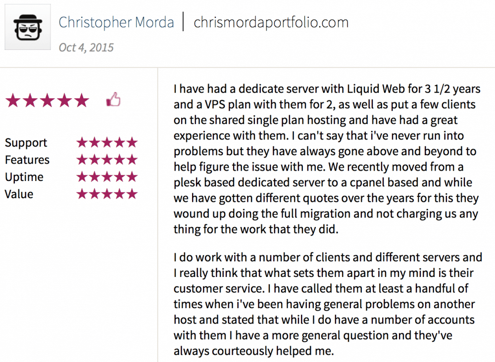 Liquid Web customer review