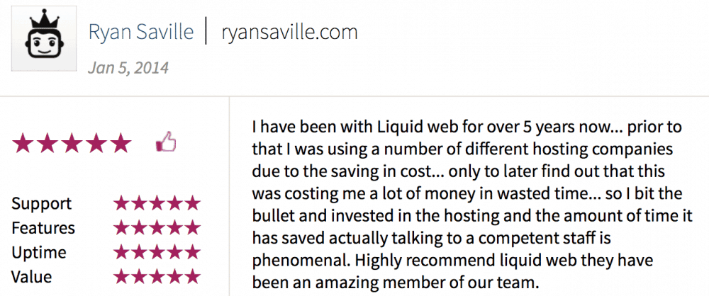 Liquid Web customer testimonials