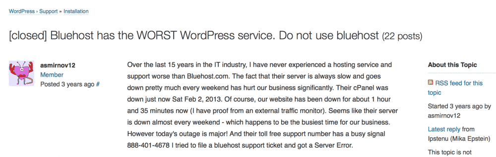 bluehost complaints