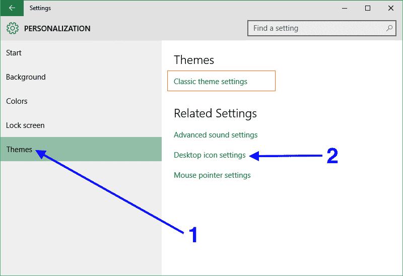 Windows 10 personalization panel