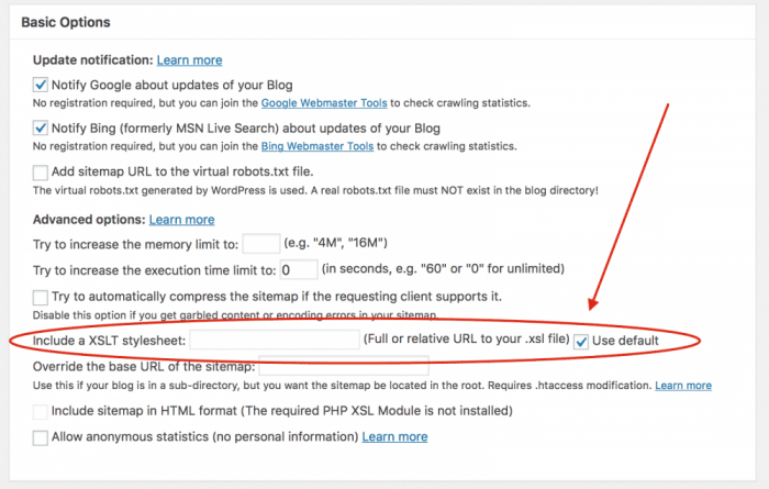 Enable default XML page stylesheet