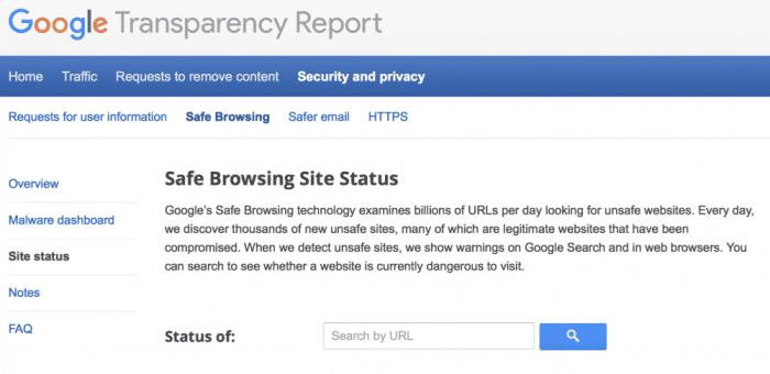 Goolge safe browsing
