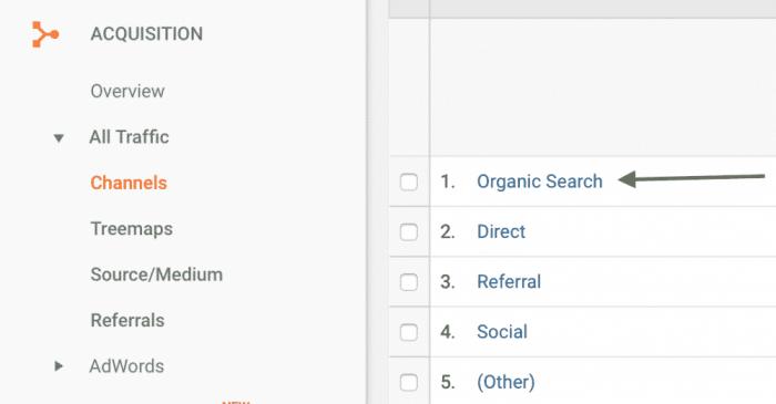 Organic Search tab