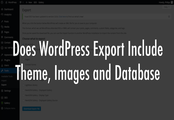 Does WordPress Export Include Theme, Images and Database