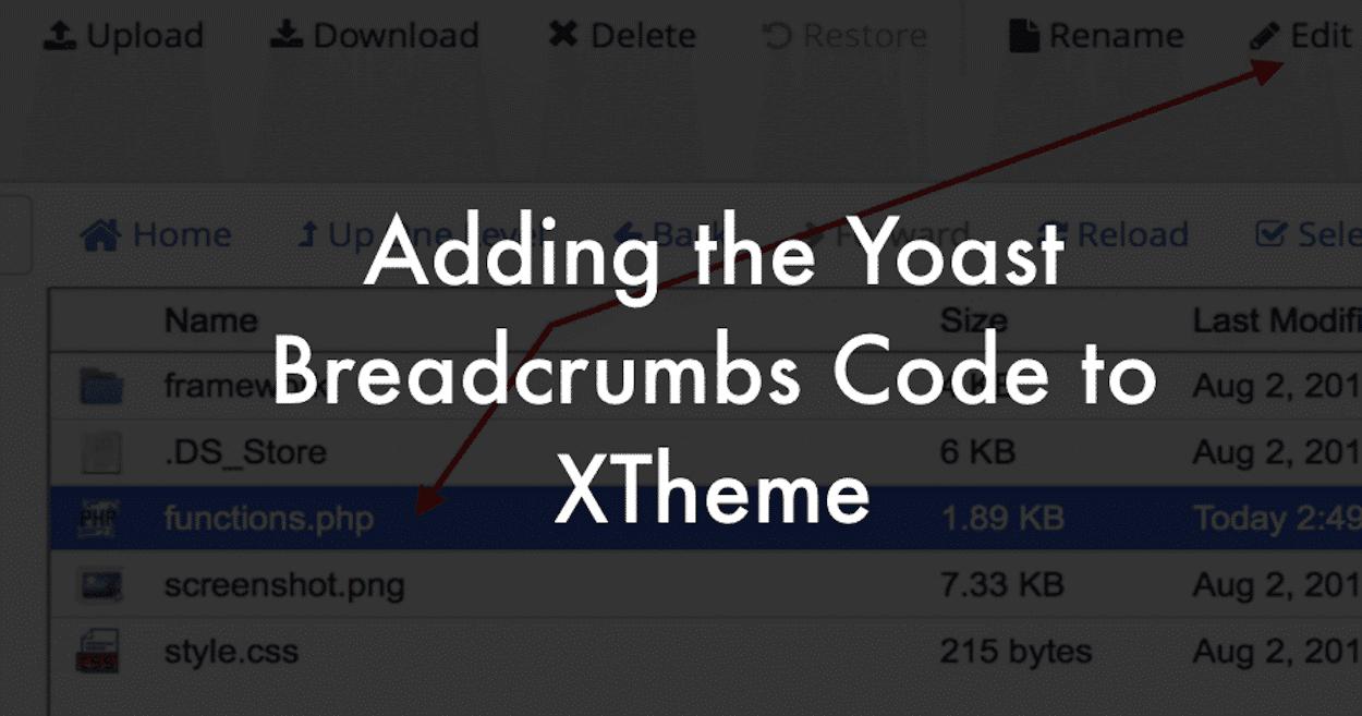 Adding Yoast Breadcrumbs code to XTheme